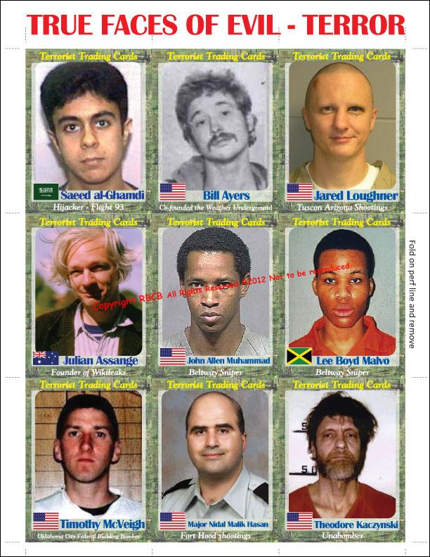 Cartes Panini des terroristes