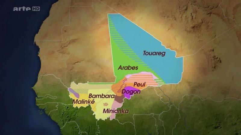 La carte des groupes ethniques au Mali diffusée sur Arte
